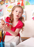 Child with colorful pencil . Stock Photos