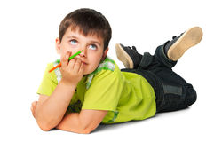 The child with colorful pencil Royalty Free Stock Photography