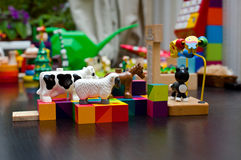 Child colorful toys in nursery Royalty Free Stock Photos