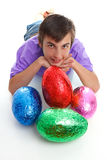 Child with colourful easter eggs Stock Photo