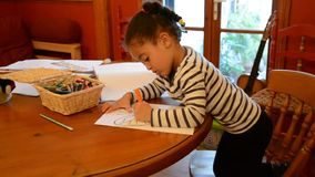 Child colouring a picture stock video