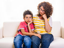 Child comforting divorced woman Royalty Free Stock Photos