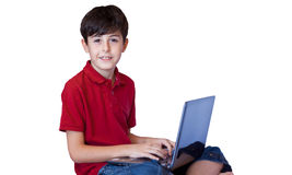 The Child and Computer. The Chid is Spare Time with Computer Royalty Free Stock Photos