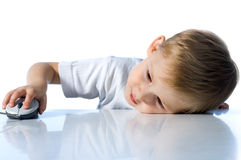 Child with computer mouse Royalty Free Stock Photo
