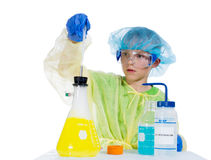 A child in a conical flask was pipetted solution Stock Photography