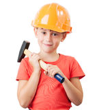 Child in the construction helmet Royalty Free Stock Photos