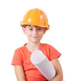 Child in the construction helmet Stock Image