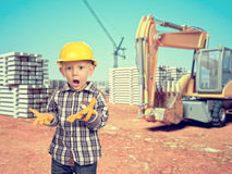 Child and construction site Royalty Free Stock Photos