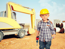 Child and construction site Royalty Free Stock Images