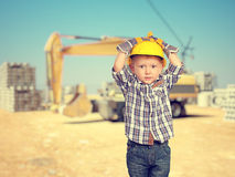 Child and construction site Royalty Free Stock Image