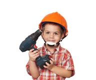 Child construction worker and screwdriver stock images