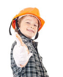 Child constructor with thumbs up Royalty Free Stock Photos