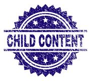Scratched Textured CHILD CONTENT Stamp Seal. CHILD CONTENT stamp seal watermark with distress style. Blue vector rubber print of CHILD CONTENT tag with dust stock illustration
