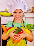 Child cooking at kitchen Royalty Free Stock Photos