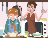 Child cooking at kitchen and messing vector cartoon Royalty Free Stock Image