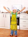 Child cooking at kitchen. Stock Photo