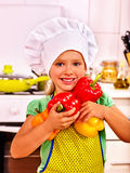 Child cooking at kitchen Royalty Free Stock Images