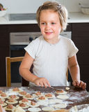 Child cooking meat dumplings Stock Photography