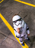 Child cosplayer dressed as a stormtrooper from Star Wars. Sheffield, UK - June 11, 2016:  Child cosplayer dressed as a stormtrooper from 'Star Wars' at the Royalty Free Stock Photos