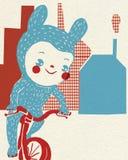 Child in costume balances on bike outside houses Stock Image
