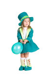 Child in costumes leprechaun, St. Patrick's Day. Isolated on white background Stock Image