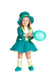 Child in costumes leprechaun, St. Patrick's Day. Isolated on white background Stock Photography