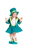 Child in costumes leprechaun, St. Patrick's Day. Isolated on white background Royalty Free Stock Photography