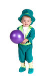 Child in costumes leprechaun, St. Patrick's Day. Isolated on white background Stock Images
