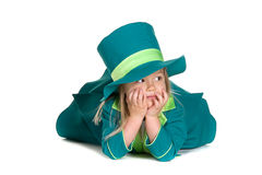 Child in costumes leprechaun, St. Patrick's Day. On white background Royalty Free Stock Photography