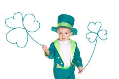 Child in costumes leprechaun, St. Patrick's Day. Isolated on white background Stock Photo