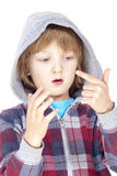 Child counting on fingers Royalty Free Stock Images