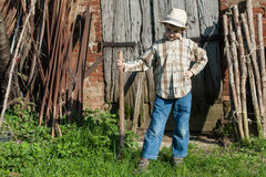 Child in the country. With stick Stock Photography