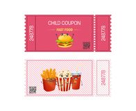 Child coupon fast food. Gift Voucher ticket card. Stock Photography