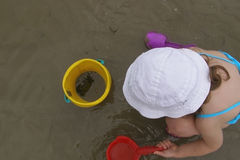 Child and crab Stock Images