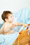 Child in Cradle Stock Photo