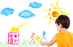 Child creates art picture with paints Stock Photography