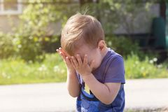 The child cries from insult. The child cries of resentment, sobs sobbingly covering his face with his hands Stock Photo