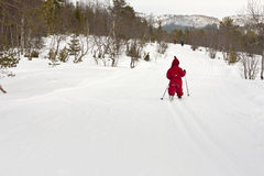 Child cross country skiing Royalty Free Stock Images