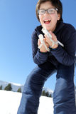 Child with the cross-country skiing Stock Photography
