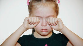 Child Crying - against a white background stock video