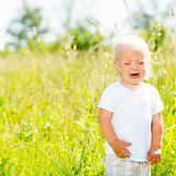 Child crying is on the nature. Toddler screaming stands ar green field Royalty Free Stock Photography