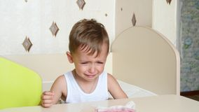 Child crying and sitting in his high chair