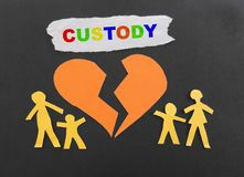 Child custody. Paper family with broken heart and Custody text Royalty Free Stock Photography
