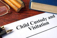 Child Custody and Visitation written on a paper. Royalty Free Stock Images