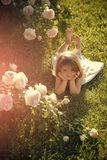 Child with cute smile at blossoming rose flowers. Growth and flourishing. Innocence, purity and youth concept. Girl lying on green grass in summer garden Stock Photo