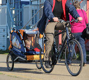 Child in cycle buggy Stock Photo