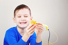 Child with 3d printing pen. Creative, technology, leisure, education concept. Boy using 3d pen. Creative, leisure, technology education concept Royalty Free Stock Images