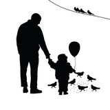 Child with dad illustration silhouette Royalty Free Stock Images