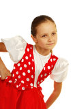 The child dances in Russian dance costume. This image has attached release Stock Photo