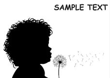 Child with dandelion. Vector ilustration Stock Image